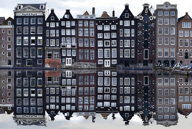 Netherlands-Amsterdam buildings by canal